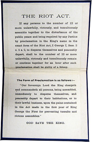 Riot Act - The full Riot Act. The lower part contains the proclamation that was to be read aloud