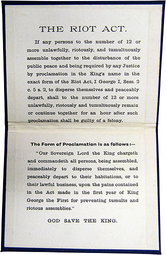 Riot Act - The full Riot Act 1714. The lower part contains the proclamation that was to be read aloud.