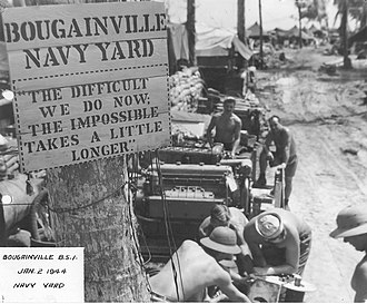 Seabee - Fig. 1: CB Navy Yard Bougainville with the Seabee Expression (Seabee Museum)