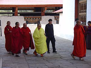 The Spiritual Leader of Bhutan Walking to the ...