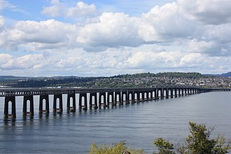 Tay Rail Bridge - The second (current) Tay Rail Bridge from Wormit on the south bank