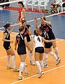 The U.S. women' volleyball team celebrates a point during a match against the Chinese team at the Military World Games in Hyderabad.JPG