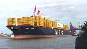 MSC Zoe - Image: The new containership MSC Zoe is dragged backwards to the Euro Gate Terminal