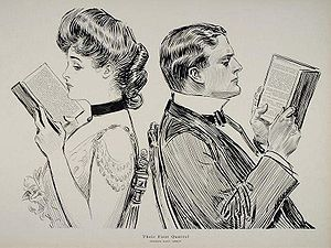 New Woman - Their First Quarrel (1914), an illustration by Charles Dana Gibson. The Gibson Girl was a glamorous version of the New Woman, shown here keeping her back turned to her suitor as they both pretend to read.