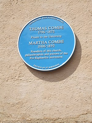 Oxfordshire Blue Plaques Board - The plaque commemorating Thomas and Martha Combe in Jericho, Oxford.