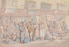 Watercolour of a line of people in the street, with hanging clothes and sacks on the floor.