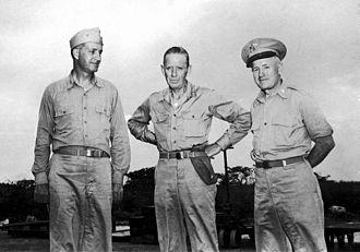 "Project Alberta - The ""Tinian Joint Chiefs"": Captain William S. Parsons USN (left), Rear Admiral William R. Purnell USN (center), and Brigadier General Thomas F. Farrell USA (right)"