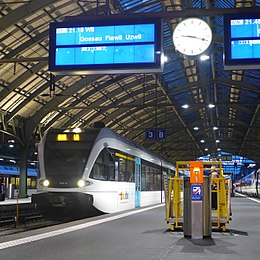 Thurbo RABe 526 801-6 Bahnhof St. Gallen departing, 2014.JPG