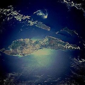 Vue par satellite de l'île.