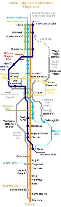 The Tōkaidō Freight Line is shown in grey in this map of the southern approaches to Tōkyō