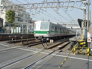 Tokyo subway rolling stock - A 6000 series EMU on the Odakyu Odawara Line at Higashi-Kitazawa