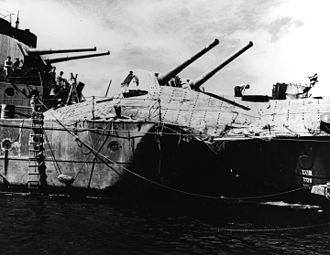 HMAS Hobart (D63) - The damage from a torpedo attack against Hobart on 20 July 1943