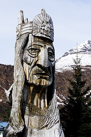 Valdez, Alaska - Totem in Valdez honoring the Native American population