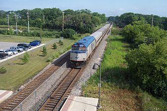 Hiawatha Service - A Hiawatha Service train departs Sturtevant.