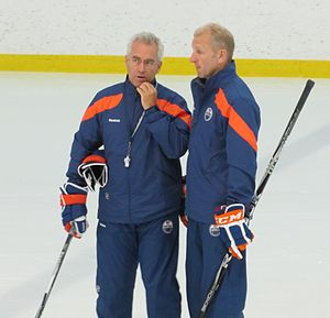Tom Renney - Tom Renney with associate coach Ralph Krueger at the 2011 Edmonton Oilers training camp.