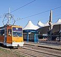 Tram in Sofia in front of Central Railway Station 2012 PD 078.jpg