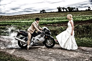 """Trash the dress - Example from a """"trash the dress"""" shoot with a burnout on a motorcycle"""