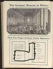 Подписание мира в Зеркальном зале Версальского дворца 28 июня 1919 года.  Подписи сторон.