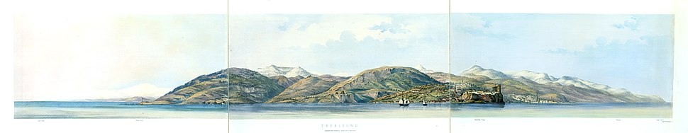 Lithograph of Trabzon from the sea by the Dickinson Brothers of London, 1853. It shows the city from 'Khonsi point' at the left to Platana (Akçaabat) at the right. This is the first impression most western travellers got of the city (in good weather) until the second half of the 20th century.