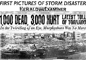 Chicago American - Chicago Herald-Examiner headline; in reality, the death toll was in excess of 695, not 1,000