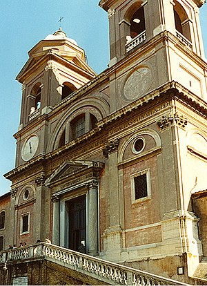 The facade of the church of Trinita dei Monti ...