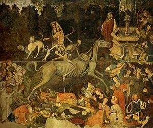 The Triumph of Death (Palermo) - Image: Trionfo della morte, già a palazzo sclafani, galleria regionale di Palazzo Abbatellis, palermo (1446) , affresco staccato