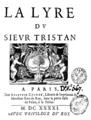 Tristan L'Hermite - La lyre du sieur Tristan, Paris, 1641, page de titre.png