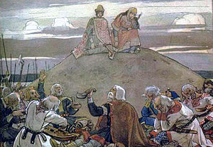 Kurgan - Oleg being mourned by his warriors, an 1899 painting by Viktor Vasnetsov. This burial rite, with the funerary tumulus, is typical of both Scandinavian and Eurasian nomadic customs.