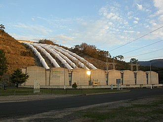 Tumut 3 power station was constructed as part of the vast Snowy Mountains Hydro Electric Scheme (1949-1974). Construction necessitated the expansion of Australia's immigration programme. Tumut3GeneratingStation.jpg