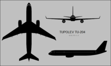 Tupolev Tu-204 three-view silhouette.png