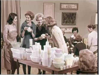 Tupperware - A Tupperware party in the 1950s, as shown in a company advertisement