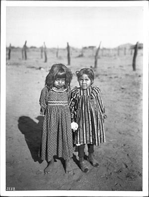 Pima people - Two young Pima Indian school girls, ca.1900
