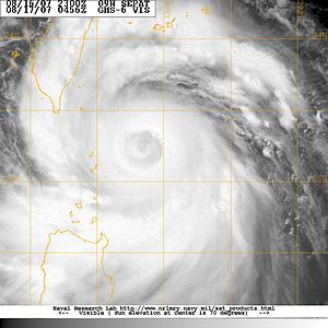 Typhoon Sepat (2007) - Typhoon Sepat during an eyewall replacement cycle on August 17