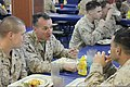 U.S. Marine Corps Brig. Gen. Charles G. Chiarotti, second from left, the deputy commander of Marine Forces Africa and Marine Forces Europe, eats lunch with Marines assigned to the 24th Marine Expeditionary Unit 120416-M-FR139-003.jpg