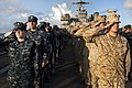 U.S. Sailors and Marines stand at attention aboard amphibious dock landing ship USS Pearl Harbor (LSD 52) June 4, 2012, in the Pacific Ocean during a commemoration of the 70th anniversary of the Battle 120604-N-KS651-015.jpg
