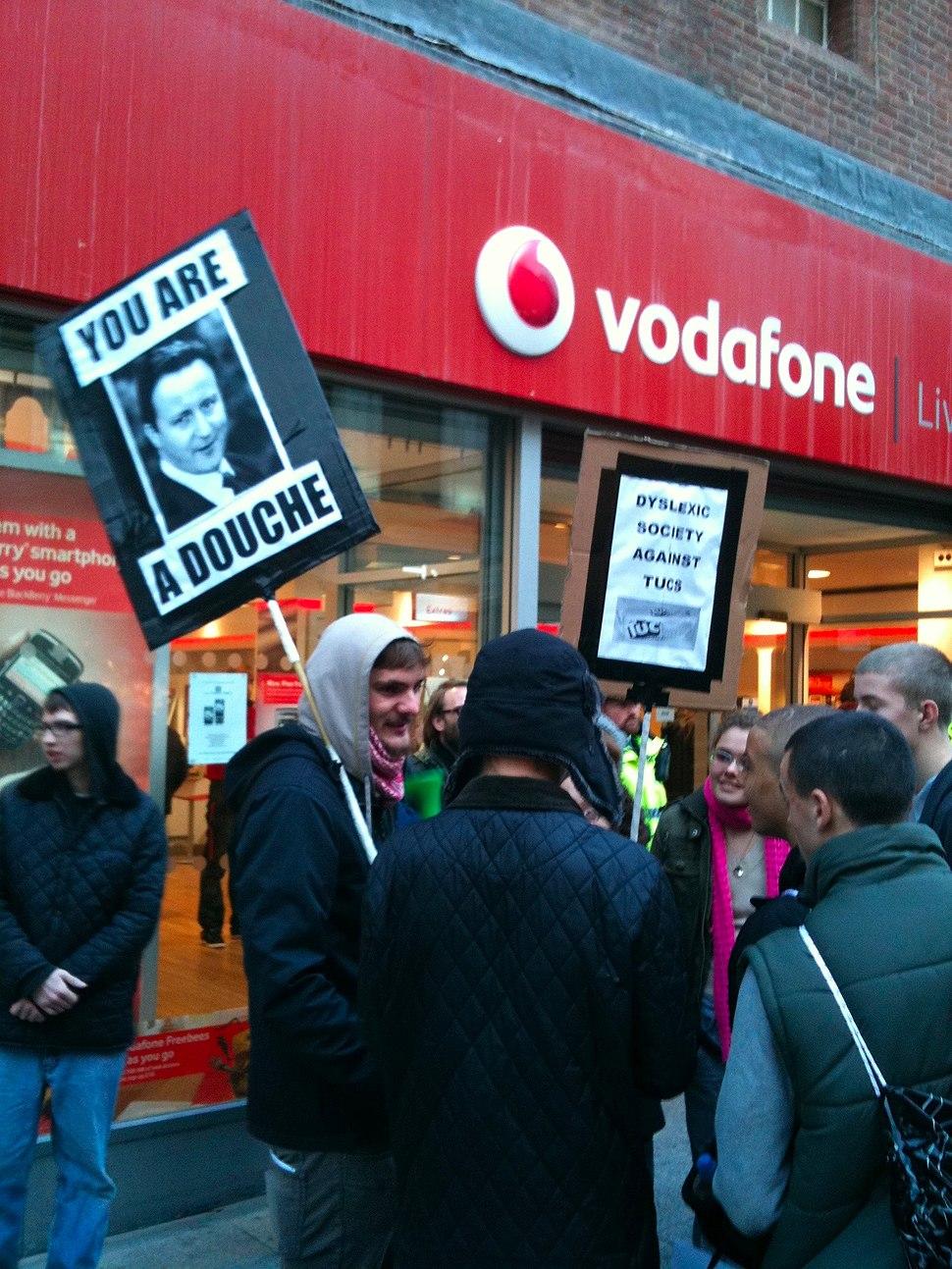 UK Uncut protest outside Vodafone, Church Street, Liverpool.jpeg