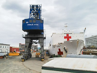 USNS Comfort in Boston dry dock from viewing stand