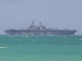 USS Bonhomme Richard (LHD-6) - USS Bonhomme Richard off Oahu the day of her arrival for RIMPAC 2008.