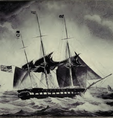 USS Brandywine, the ship that returned Lafayette to France after his 1824-1825 tour of the United States USS Brandywine 1831 OldNavyDays.jpg