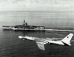 USS Ranger CV-61 with Tu-16 1989.jpg