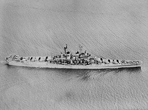 USS Roanoke (CL-145) - Image: USS Roanoke (CL 145) underway in January 1950
