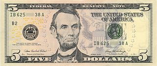 United States five-dollar bill Current denomination of United States currency