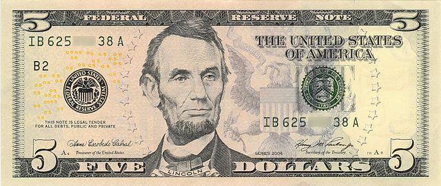 5アメリカ ドル紙幣