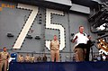US Navy 020828-N-1058W-012 Former U.S. President George H. W. Bush addresses Sailors on the flight deck aboard USS Harry S. Truman (CVN 75).jpg