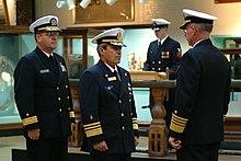 cbae97166c15fe Aluf Yedidya Ya'ari (c), former commander of the Israeli Navy, wearing a navy  combination cap