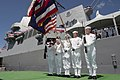 US Navy 040918-N-3228G-019 A color guard assigned to the Arleigh Burke-class guided missile destroyer USS Chung-Hoon (DDG 93), parade the colors at their ship's commissioning ceremony in Pearl Harbor.jpg