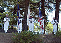 US Navy 050529-N-2385R-056 Sailors assigned to U.S. Fleet Activities Command Sasebo, present colors during the annual homage to Soto Dam for a Memorial Day service.jpg