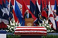 US Navy 050716-N-0555B-137 Secretary of the Navy Gordon England reflects on the life of retired Vice Adm. James B. Stockdale during a memorial service.jpg