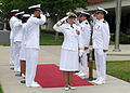 US Navy 070706-N-8547M-019 Sideboys salute Rear Adm. Moira N. Flanders as she arrives as part of the official party for the Center for Seabees and Facilities Engineering (CSFE) change of command.jpg