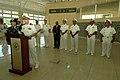 US Navy 070902-N-0989H-034 Capt. Douglas Wied, commander of Task Group 40.9, speaks to members of the Dominican Republic news media aboard High Speed Vessel (HSV 2) Swift.jpg